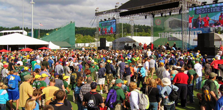 Live concert during the USA Track and Field Olympic Trials at the University of Oregon.
